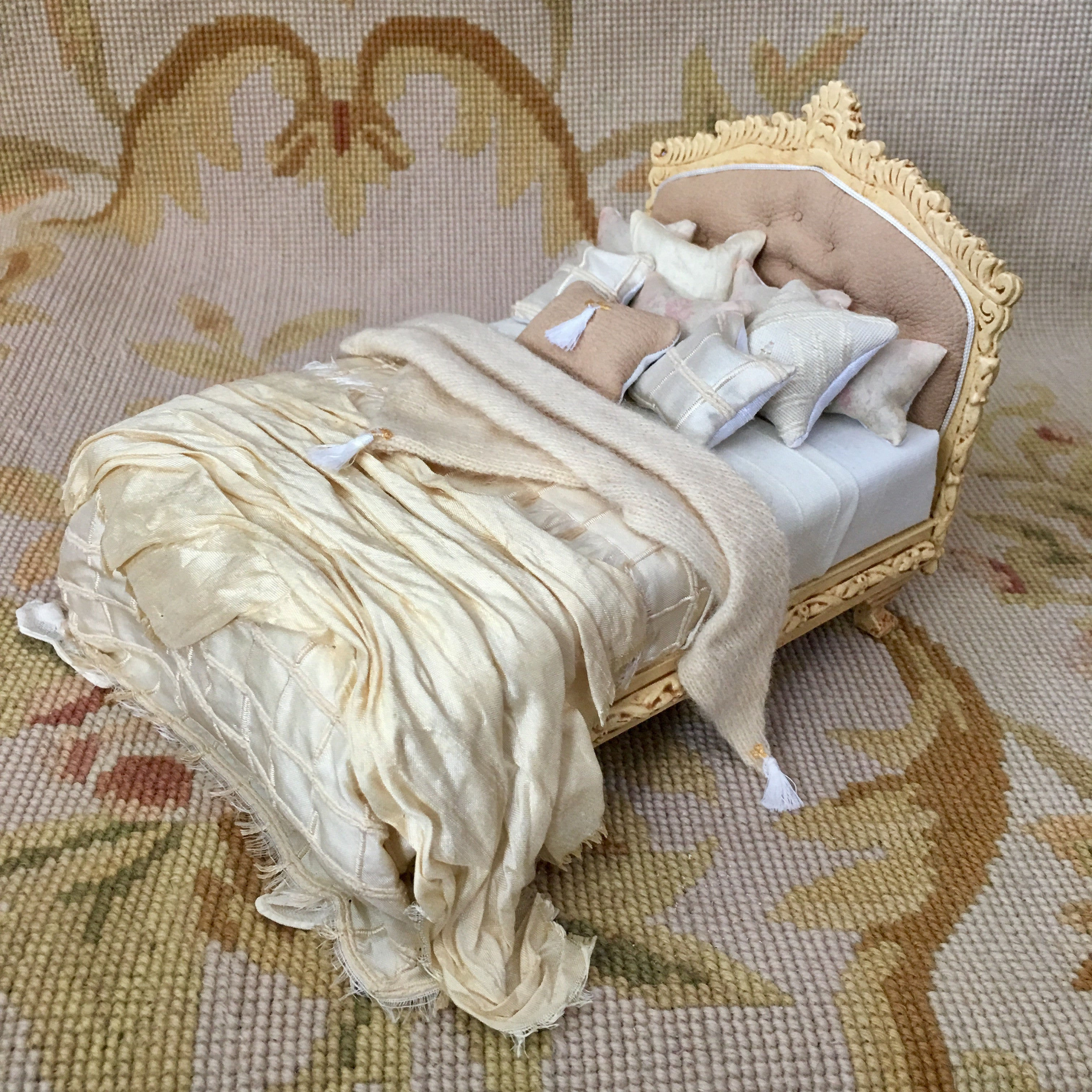 Bed Dressed Antique Sand 1:2 Scale SPECIAL ORDER Dollhouse Miniature