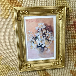 Painting Picture Medium Sand Flowers 1:12 Dollhouse Miniature Art