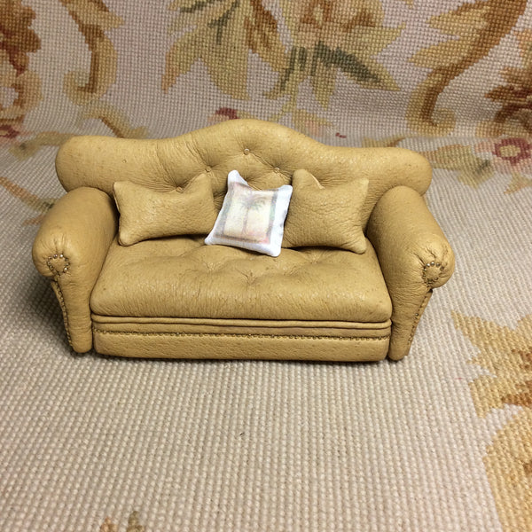 Sofa Seat Couch Lounge Divan Settee Leather with Pillows 1:12 Scale SPECIAL ORDER  Dollhouse Miniature