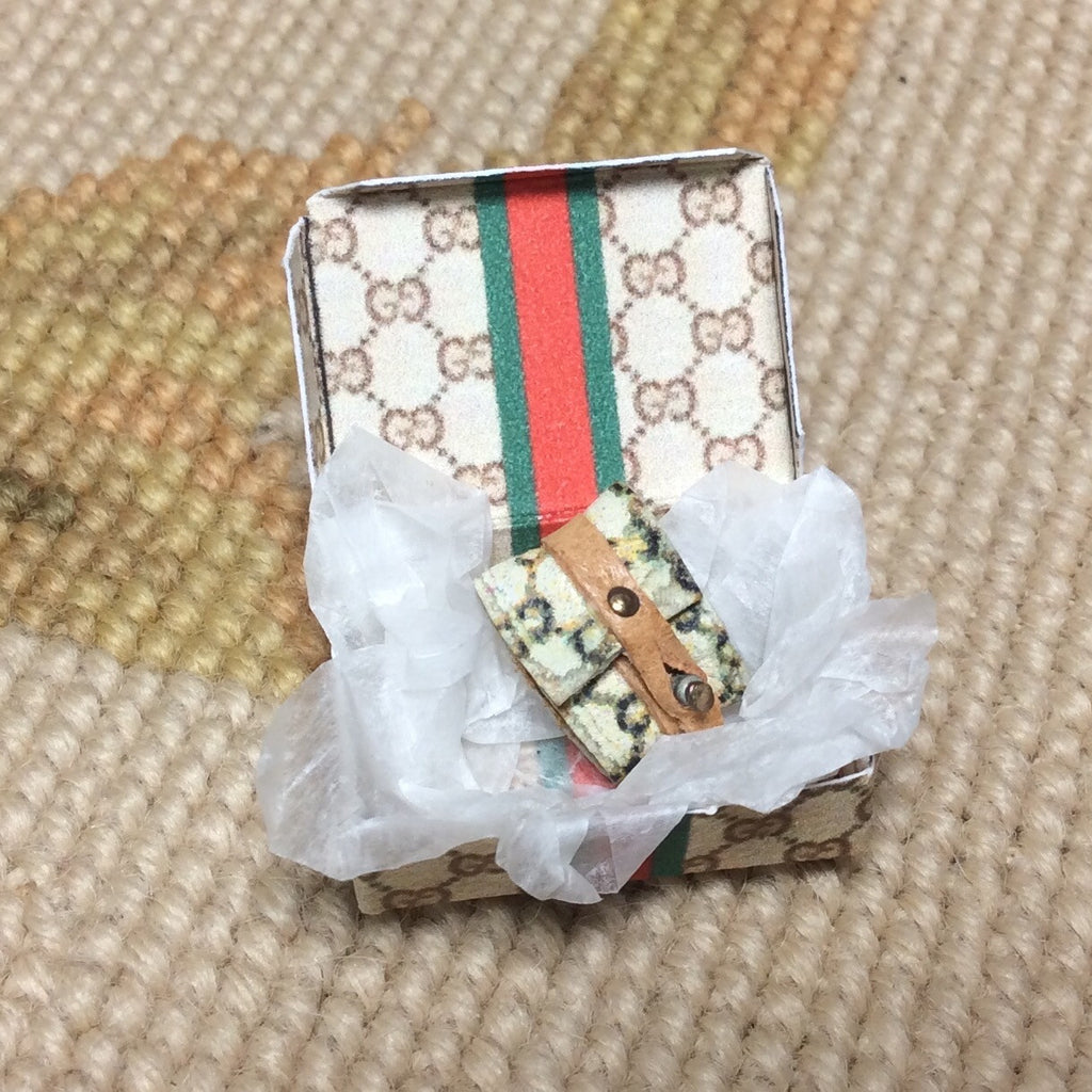 Wallet Designer Inspired With Money Inside & Paper Box 1:12 Dollhouse Miniature