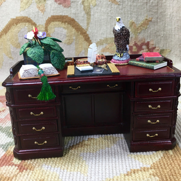 Bespaq Desk Secretary Davenport Writing Table Dressed 1:12 Dollhouse Miniature
