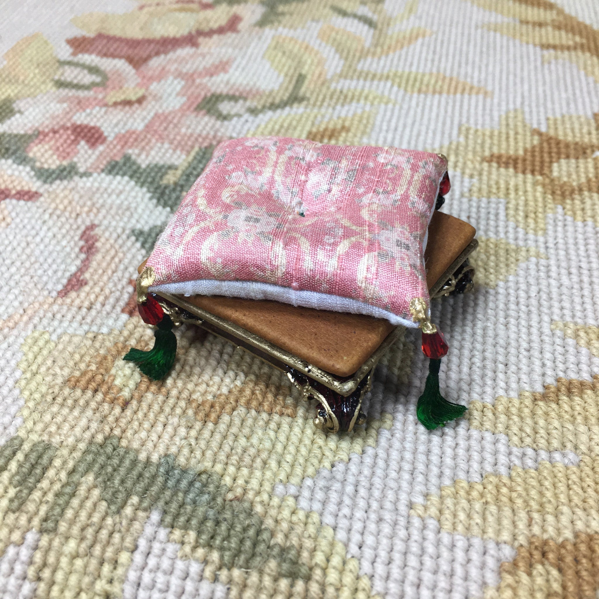 Stool Ottoman Hassock Seat Floral Silk Fabric 1:12 Scale SPECIAL ORDER Dollhouse Miniature