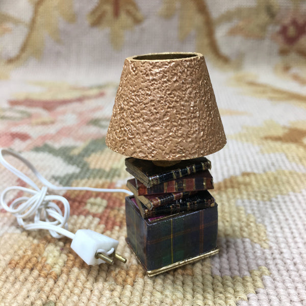 Lamp Light Illumination With Book Base 1:12 Dollhouse Miniature