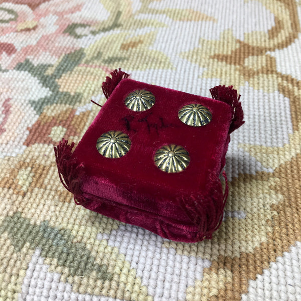 Stool Ottoman Seat Deep Red Silk Velvet Fabric 1:12 Dollhouse Miniature