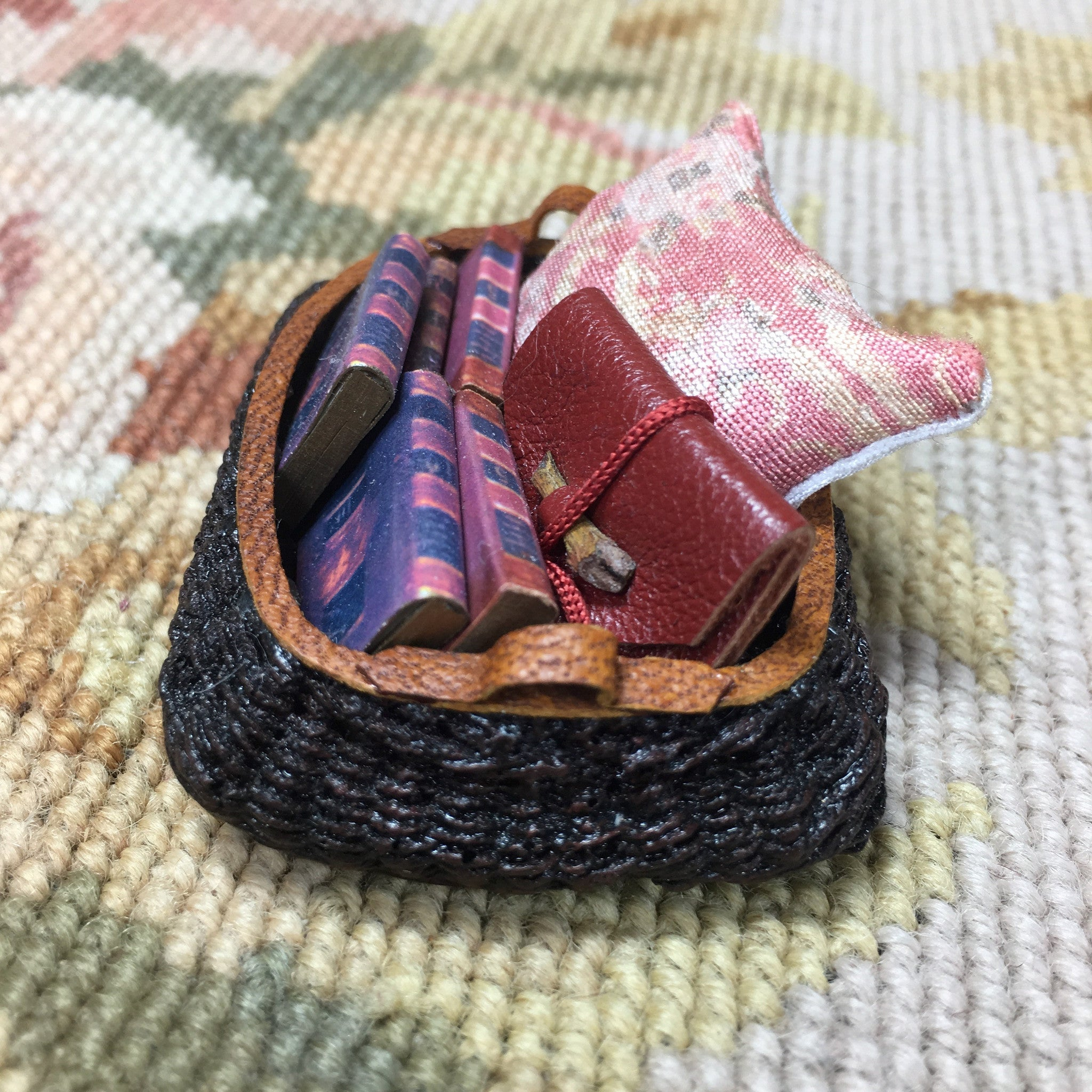 Basket Container with Leather Trim Filled With Pillow, Books, Pouch 1:12 Dollhouse Miniature