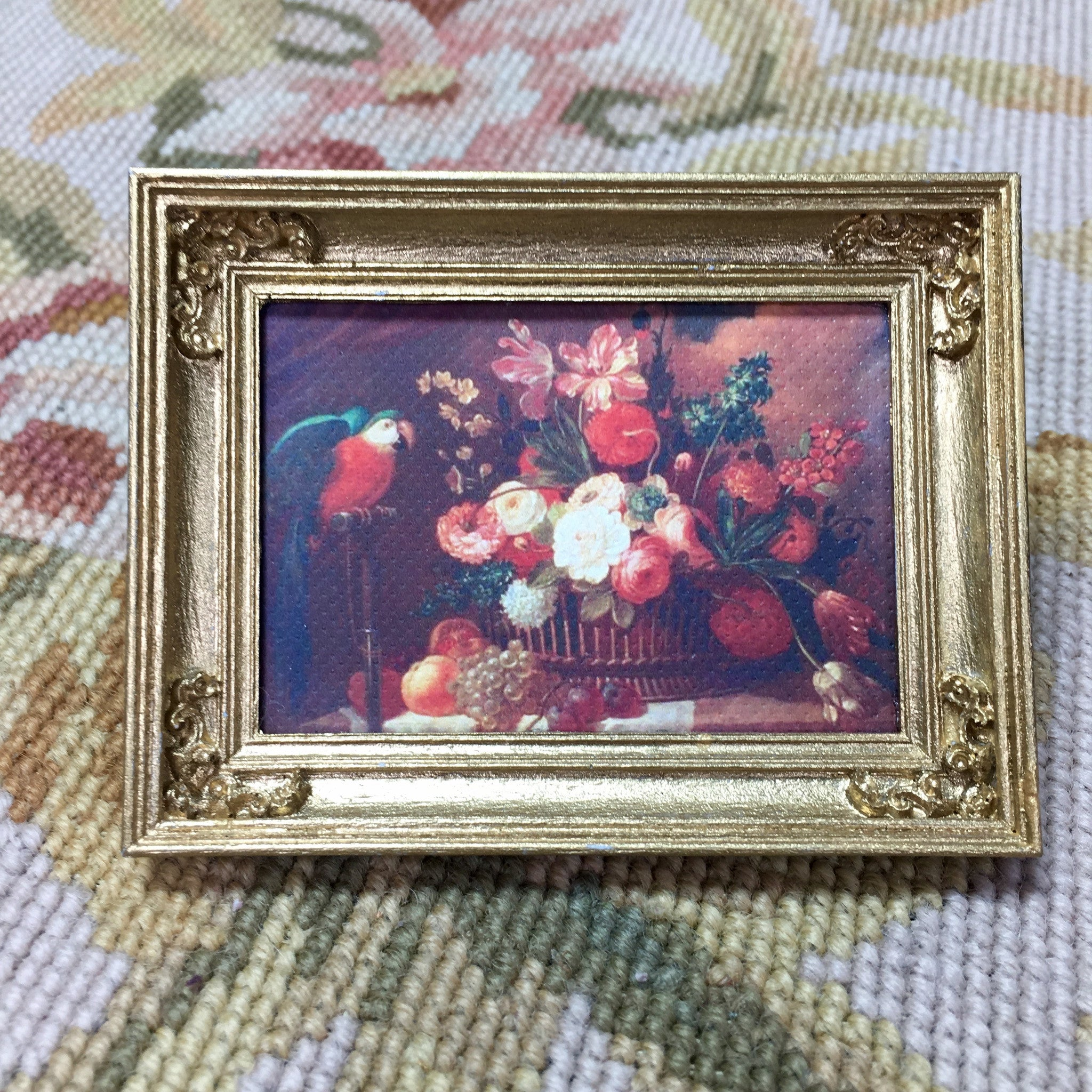 Painting Picture Medium Bird & Flowers 1:12 Dollhouse Miniature Art