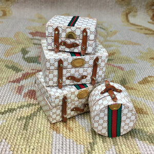 Luggage Valise Small Hat Box Designer 1:12 Dollhouse Miniature
