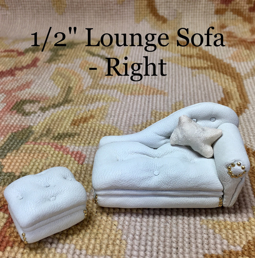 "1/2"" Half Inch Leather Lounge Sofa Couch Seat Chaise ""RIGHT"" With Ottoman 1:24 Dollhouse Miniature"
