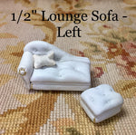 "1/2"" Half Inch Leather Lounge Sofa Couch Seat Chaise ""LEFT"" With Ottoman 1:24 Dollhouse Miniature"
