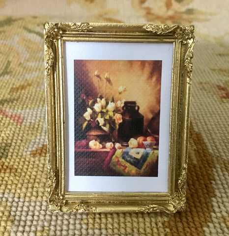 Painting Picture with Jug Vase Cream Roses Small 1:12 Dollhouse Miniature Art
