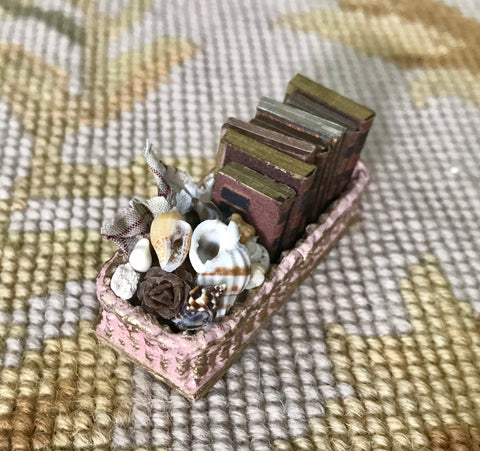 Basket Container with Books 1:12 Dollhouse Miniature