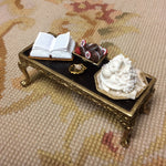 Table with Leather Top Dressed SPECIAL ORDER 1:12 Dollhouse Miniature