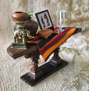 Sofa Table Stand Dressed African Kenti Cloth 1:12 Dollhouse Miniature