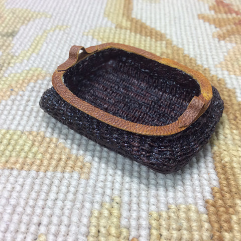 Basket Wicker Container with Leather Trim 1:12 Dollhouse Miniature