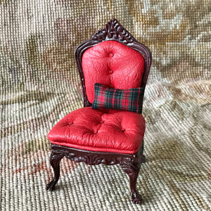 Chair Seat Leather with Pillow 1:12 Scale Dollhouse Miniature