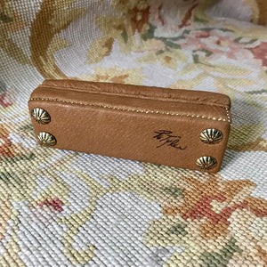 Bench Stool Ottoman Seat Tan Leather With Nail Heads 1:12 Scale Dollhouse Miniature