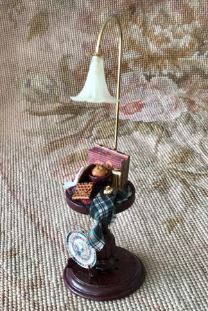 Table Stand with working Lamp Light Dressed 1:12 Dollhouse Miniature