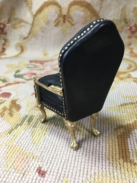 Chair Seat Black Leather with Pillow 1:12 Dollhouse Miniature