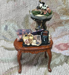 Bespaq Table Stand Dressed with Plant Books Camera etc. 1:12 Dollhouse Miniature