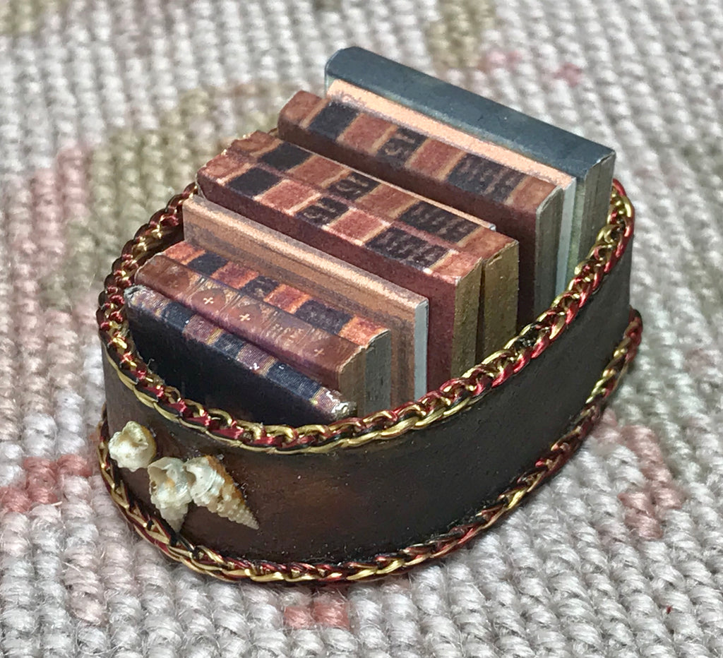 Box Dressed with Books 1:12 Dollhouse Miniature
