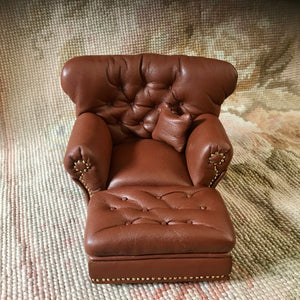 Chair Club Brown Leather with Pillow 1:12 Scale Dollhouse Miniature