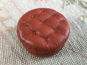 Stool Ottoman Seat Tan Leather Round 1:12 Scale Dollhouse Miniature
