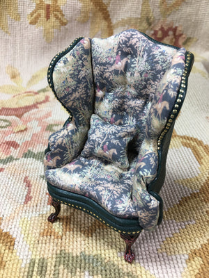 Chair Wing Hunt Printed Cotton & Green Leather 1:12 Scale SPECIAL ORDER Dollhouse Miniature
