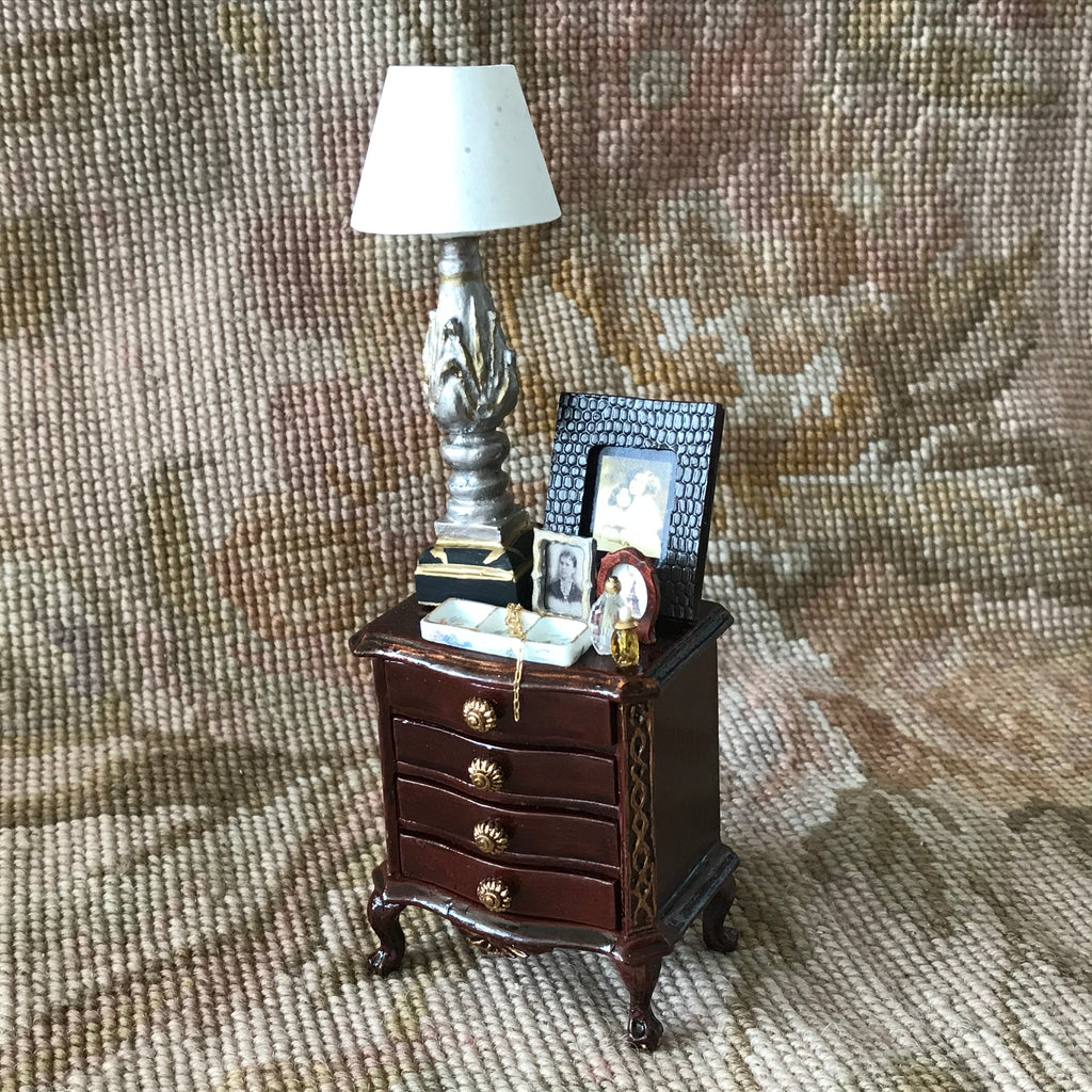 Chest Table Stand with working Lamp Dressed 1:12 Dollhouse Miniature