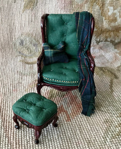 Chair Seat & Stool Ottoman With Drape & Pillow 1:12 Dollhouse Miniature