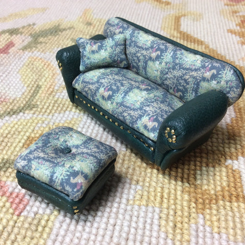 "1/2"" Half Inch OOAK Leather & Hunt Fabric Sofa Couch Seat 1:24 Dollhouse Miniature"