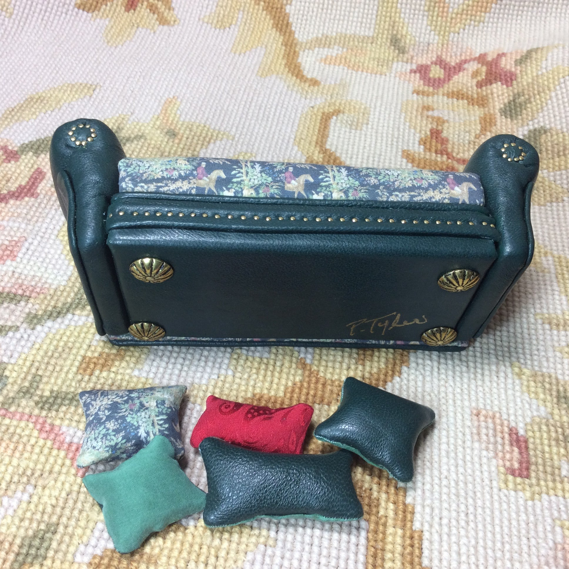 Sofa Couch Lounge Divan Settee Leather & Hunt Fabric with Pillows 1:12 Scale SPECIAL ORDER  Dollhouse Miniature