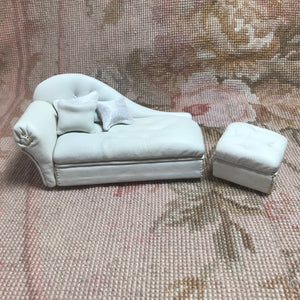 Sofa Seat Couch Chaise Lounge Divan Settee Leather with & Ottoman Left 1:12 Dollhouse Miniature