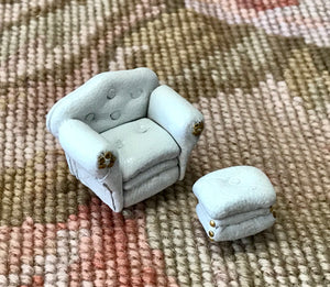 "1/4"" Quarter Inch Scale Leather Club Chair & Ottoman White Dollhouse Miniature"