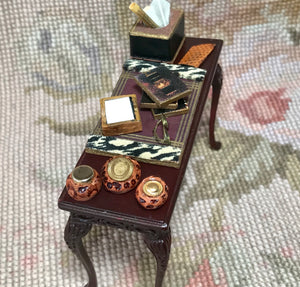 Bespaq Table Stand Dressed with Desk Set Eyeglasses etc 1:12 Dollhouse Miniature