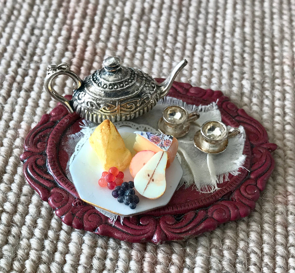 Tray Dressed with Silver Tea Set & Plate of Fruit & Cheese 1:12 Dollhouse Miniature
