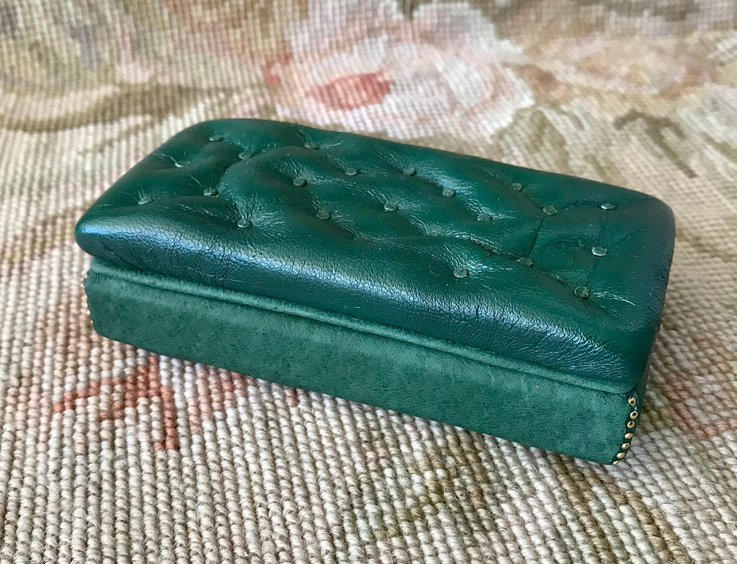 Stool Ottoman Seat Bench Green Leather  1:12 Dollhouse Miniature
