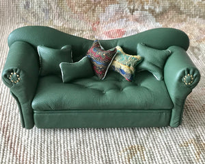 Sofa Couch Lounge Divan Settee Leather with Pillows Juniper Green