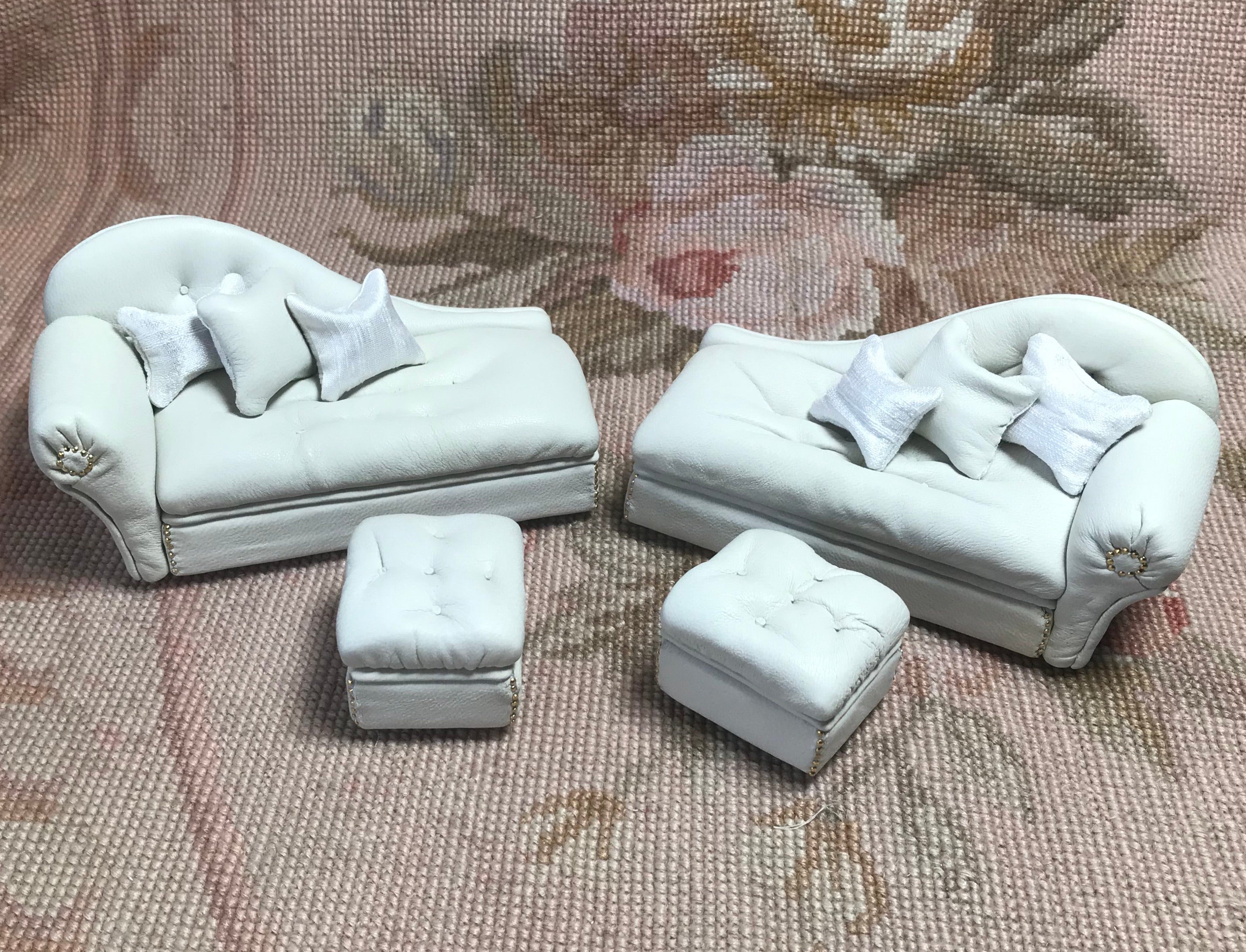 Sofa Seat Couch Chaise Lounge Divan Settee Leather with & Ottoman Right 1:12 Dollhouse Miniature