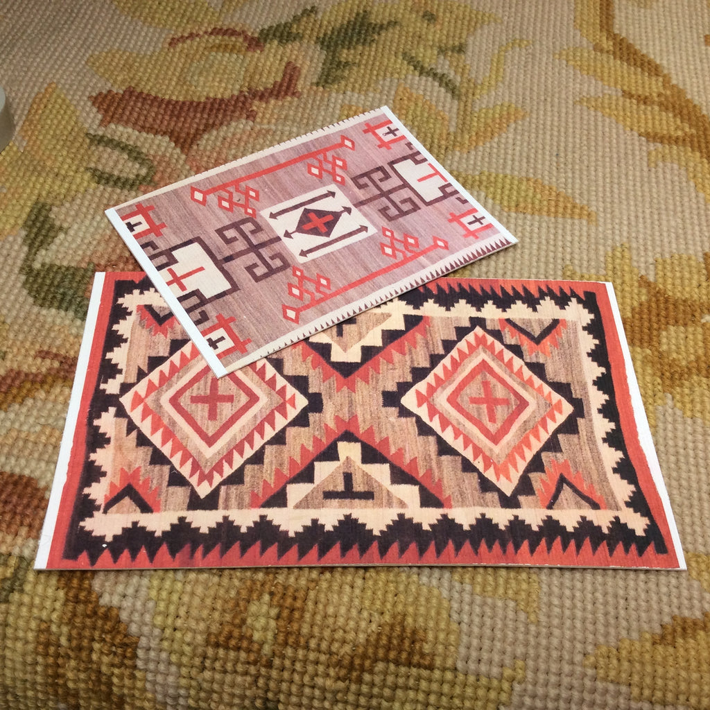 "1/2"" Floorcloth Rug Carpet Set Southwestern 1:24"