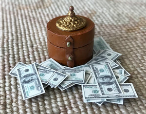 Money Box With Money 1:12 Dollhouse Miniature