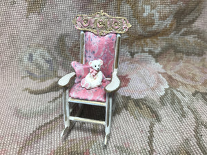 Rocking Chair with Toy Teddy Bear and Pillow Pink Floral Silk 1:12 Dollhouse Miniature