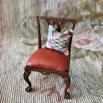 Bespaq Chair Seat Leather with African Print Pillow 1:12 Dollhouse Miniature