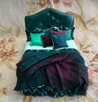 Bed Dressed with Leather Headboard, Pillows & Drape 1:12 Dollhouse Miniature