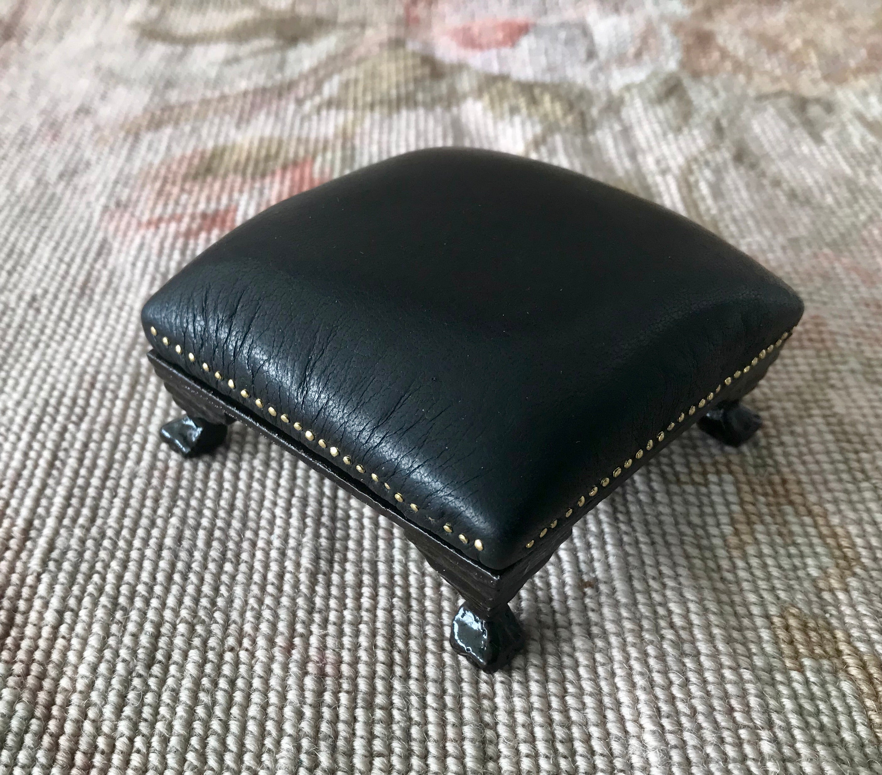 Stool Ottoman Seat Black Leather 1:12 Scale Dollhouse Miniature