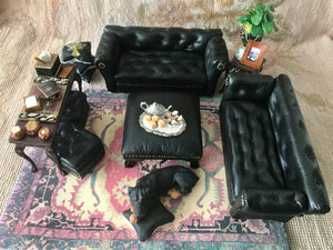 Sofa Couch Lounge Divan Settee Leather chesterfield 1:12 Scale Dollhouse Miniature