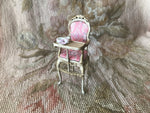 Bespaq Baby High Chair with Dishes Pink Floral Silk 1:12 Dollhouse Miniature
