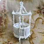 Bespaq Baby Bed Bassinet Cradle Crib Dressed 1:12 Dollhouse Miniature