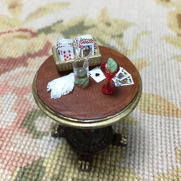 Table Stand Dressed with Card Box Napkin Bar 2 Cocktails 1:12 Dollhouse Miniature