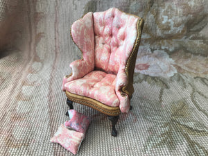 Chair Wing Floral Printed Silk & Tan Leather 1:12 Dollhouse Miniature