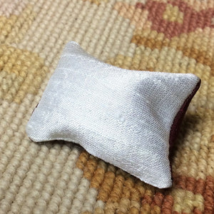 Pillow Cushion Burgundy & White 1:12 Dollhouse Miniature